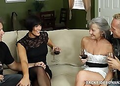 Cute couple have a private night orgy party