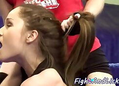 Amazing babe Afra wrestling in the ring after being fucked
