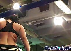 Big tits babe participates in a wrestling match