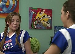 Cheerleader performs seductive lesbian sex