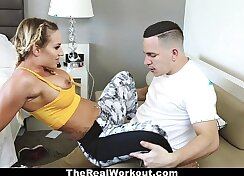 Busty blonde gets fucked by trainer