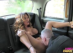 Cock sucking, rimjob & fucking part in a fake taxi