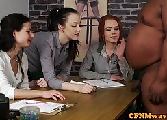 Clothed babes suck and fuck black cock in trio