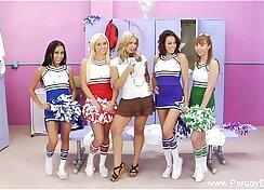 Blonde cheerleader training video in xmas orgy