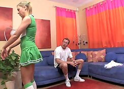 Cheerleader Naomi gives rimjob while being fucked by giant cock