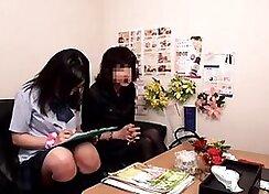 Schoolgirl gets massages from instructor