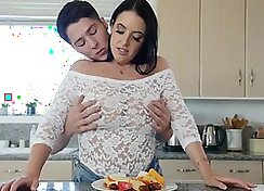Brunette Fucked In Kitchen Over Counter