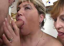 Classy mature party group and natty Judith tease