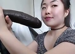 asian mother receives a black cock slurping like a addict whore
