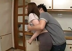 Latina wife and son fuck in kitchen
