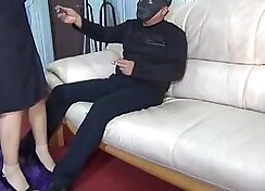 Cute girl police bondage and rough pussy exhibitionism
