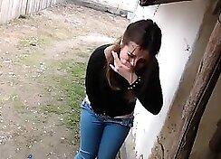 Amateur hidden cam guy fucks and cums hard outdoors