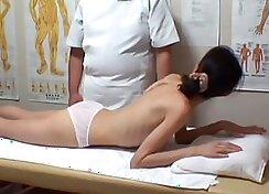 Blonde Asian Transrmatologist Massages Closet in Treating Clinic