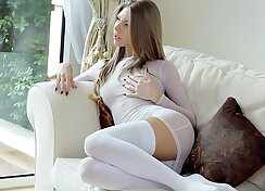 Angel in white sexy lingerie