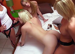 Lesbians fucking each other hard style bang with strapon