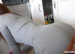 Sexy brunette babe Eve masturbates in kitchen