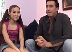Amai Liu shows trick to her master Justin Castle in a subway train