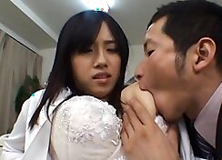 Busty asian babe getting creamed by her teacher