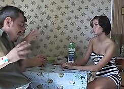Curly brunette Russian beauty enjoys the party