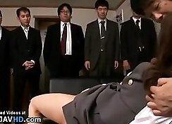 Horny japanese chicks take hard shots with huge boss dildo