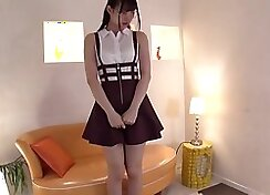 Young Japanese teen schoolgirl rides old dick